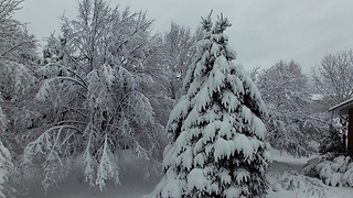 Gorgeous scenery from winter storm filmed by drone - Video