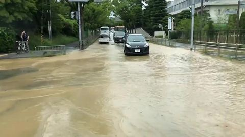 Burst water pipes cause flooding on Osaka streets after earthquake