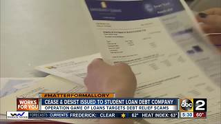 Maryland AG orders Student Loan Debt Relief Company to cease illegal conduct - Video