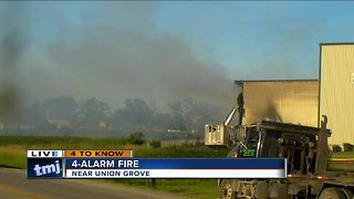 Fire still burning at Johns Disposal facility in Racine County - Video
