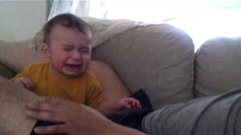 Baby cries whenever dad pretends to cry