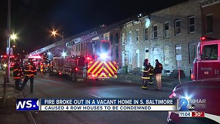 Two Alarm Fire Causes 4 row homes to be condemned - Video