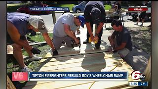 Tipton firefighters repair wheelchair ramp for 9-year-old - Video