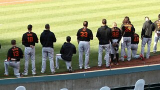San Francisco Giants' Manager And Players Kneel During National Anthem