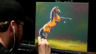 Acrylic Wildlife Painting of a Rearing Horse - Time-lapse - Artist Timothy Stanford