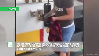 He Bends Down at Gas Pump And Starts to Pull. But What Comes out Will Leave You Screaming - Video