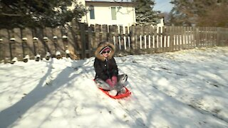 Backyard Sledding Fun!