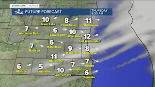 Slight cold front moves in Thursday leaving highs in the low 40s