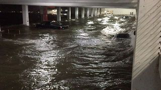Floodwaters Sweep in to Hard Rock Cafe Parking Lot in Biloxi - Video