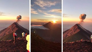 British holidaymaker shares stunning video of volcano explosion during hike