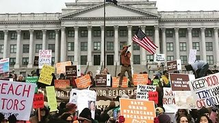 Protesters Block Streets, Utah Capitol During Trump Visit