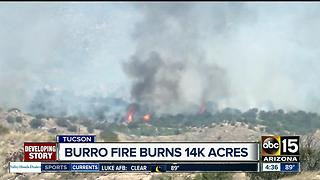 Burro Fire burning 14k acres near Tucson - Video