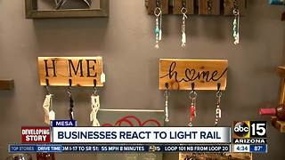 Mesa businesses react to light rail business - Video