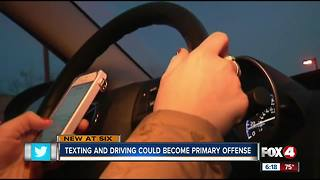 Texting and driving could become a primary offense
