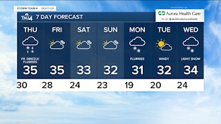 Thursday stays cloudy with flurries and drizzle