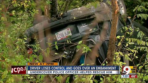 Driver loses control, goes over embankment