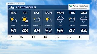 Thursday is sunny with highs in the 50s