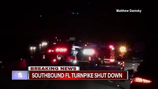 Crash on Florida Turnpike has all SB lanes blocked - Video