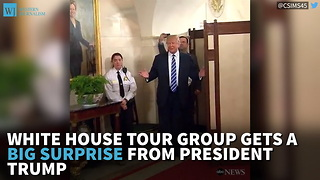 White House Tour Group Gets A Big Surprise From President Trump - Video
