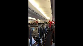 Medley of South American fans chant on flight to Moscow - Video