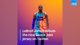 LeBron James debuts the new Space Jam jersey on Twitter.
