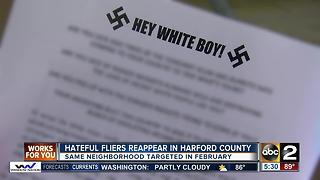 Hateful fliers reappear in Harford County