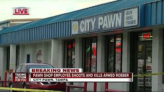 Pawn shop clerk fatally shoots attempted robber in Tampa - Video