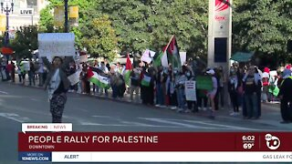 Pro-Palestinian protesters gather in downtown San Diego