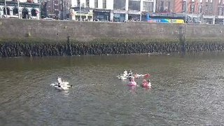 Just Some Lads Paddling Up Dublin's River Liffey on Inflatables - Video