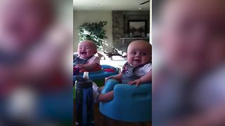 """Twin Baby Girl Cries Over Monkey Noises While Her Twin Brother Laughs"""