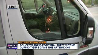 Police warning of potential theft victims during Tigers game today - Video