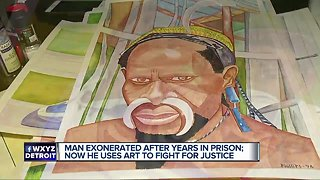 Man exonerated after years in prison uses art to fight for justice