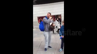 Cristiano Ronaldo Surprises Young Fan On Plaza Del Callao In Madrid - Video