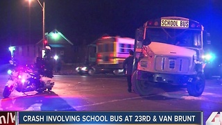 Police: 2 injured after school bus and truck collide in east Kansas City - Video