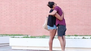 Man Offers Hugs to People After US Election Result - Video