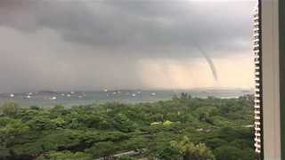 Large Waterspout Spotted Off Singapore Coast - Video