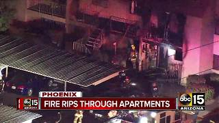 Apartment fire in Phoenix sends 3 to hospital - Video