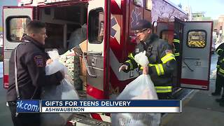 Firefighters deliver gifts for teens to Salvation Army - Video