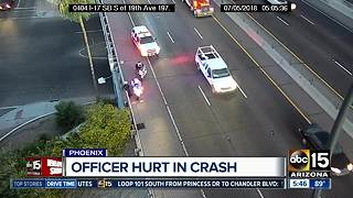 Phoenix officer injured in crash on Interstate 17 - Video