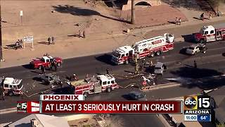 Three seriously hurt in west Phoenix crash - Video