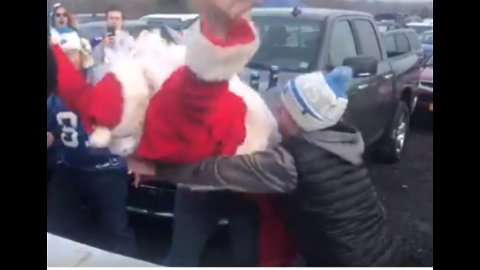 Detroit Lions Fans Body Slam Santa During Tailgate Party