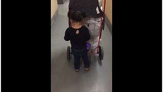 Helpful 2-Year-Old Loves To Go Shopping - Video