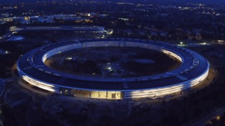 Drone Captures Stunning Footage of Apple Park at Sunset - Video