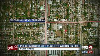 Motorcyclist Hits Woman on Bike - Video