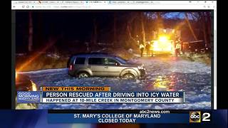 One rescued after SUV drives into icy creek - Video
