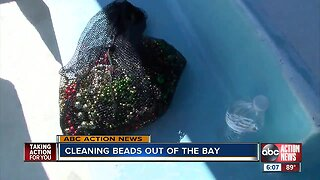 Dozens of volunteers come out to clean Gasparilla beads out of Tampa Bay