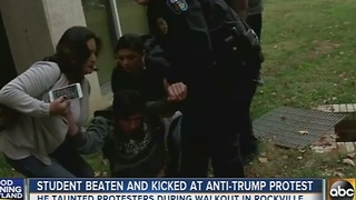 Student beaten, kicked at anti-Trump protest in Rockville - Video