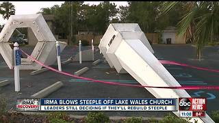 Hurricane Irma blows steeple off Lake Wales church - Video