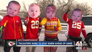 Chiefs fans tailgate early despite cold temperatures