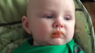 Baby Gets Gagging Sensation When He Tries His First Butternut Squash - Video